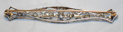 1920s Vintage Old Miner Diamond Bar Brooch in Solid 18K White Gold & Yellow Gold - $12K VALUE