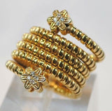 Italian Designer Diamond Coil Flower Ring in Solid 14K Yellow Gold - $6K VALUE