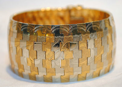1940's Vintage Two-Tone Omega-Style Bracelet Floral Motif in 18K Gold - $20K VALUE