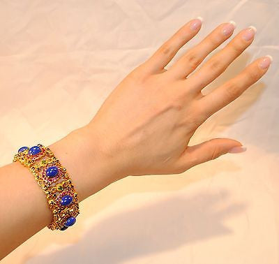1970s Vintage Blue Lapis Lazuli, Emerald, Pink & Blue Sapphire Bracelet in 22K Yellow Gold UGL Certified - $22.5K VALUE