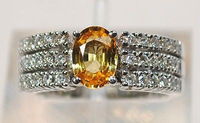 Contemporary Citrine & Diamond Triple-Row Band in 18K White Gold - $8K VALUE