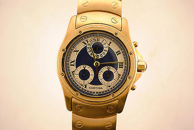 Cartier Round Santos Chronograph Men's Wristwatch in 18K Yellow Gold with Blue & Silver Dial - $60K VALUE
