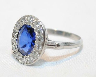 1900s Antique 3 Carat Sapphire and 1 Carat Diamond Ring in Platinum -  $40K VALUE