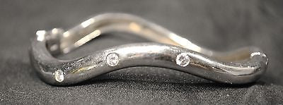 Contemporary Diamond Wavy Hinged Bangle Bracelet in 14K White Gold - $8K VALUE