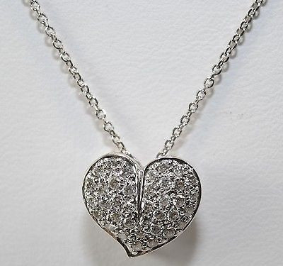 Contemporary Pave Diamond Classic Heart Necklace in 14K White Gold - $8K VALUE