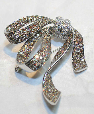 Edwardian-Style 6 Carat Champagne & White Diamond Bow Brooch in 18K White Gold - $35K VALUE