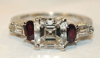 Vintage Style 2.72 Carat Asscher-Cut Diamond Ring with Ruby in Platinum & 18K Gold GIA Certified - $80K VALUE