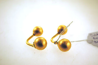 1960s Brushed Metal Ball Cuff Links in Solid 14K Yellow Gold - $3K VALUE