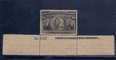 Rare U.S. #245 1893 Colombian $5 Stamp Mint S Plate #108, Imprint Strip of 3! $60K VALUE