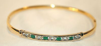 Contemporary Diamond and Emerald Two-Tone Bangle Bracelet in 14K Yellow & White Gold - $8K VALUE