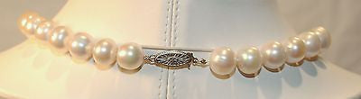 "18"" Genuine 10mm White Pearl Necklace with Pink Hue & White Gold Clasp - $15K VALUE"