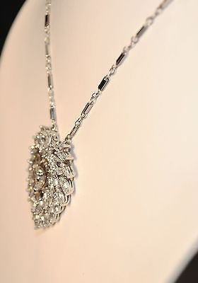 Contemporary 9+ Carat Diamond Heart Pendant Necklace in 14K White Gold - $100K VALUE