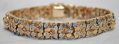 1970's Vintage Diamond Gold Nugget Tri-Color 14K Gold Bracelet - $20K VALUE