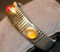Bvlgari Tubogas Stainless Steel & 18K Yellow Gold Cuff Bracelet with Ruby, Citrine, Topaz - $20K VALUE