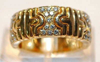 Contemporary Bvlgari Pave 18K Gold Ring with Diamonds - $20K VALUE