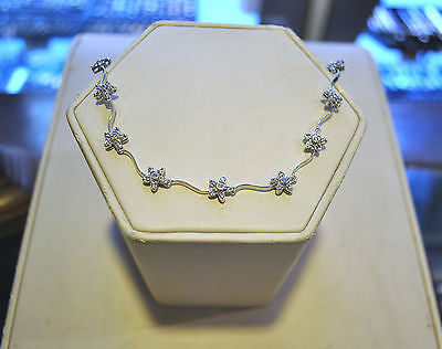 Contemporary Lovely Solid 14K White Gold Flower Link Ankle Bracelet with 1.75 Carat Diamonds - $12K VALUE