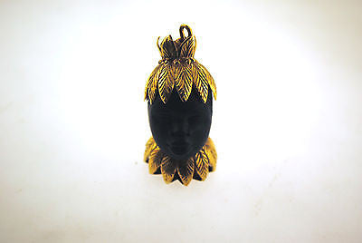 Very Unique Carved Ebony Bust Pendant with 18K Yellow Gold - $5K VALUE