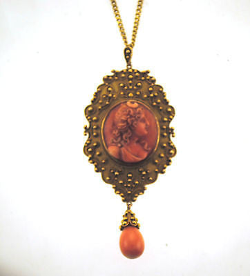 1940s Vintage Coral Cameo Pendant & Necklace in Solid 14K Yellow Gold - $15K VALUE