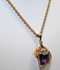 Vintage 1940s 14+ Carat Amethyst Pendant in 14K Yellow Gold with Chain - $5K VALUE