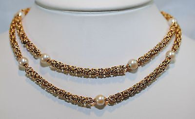 "1950s Vintage 28"" Pearl Station Necklace in Sold 14K Yellow Gold - $12K VALUE"