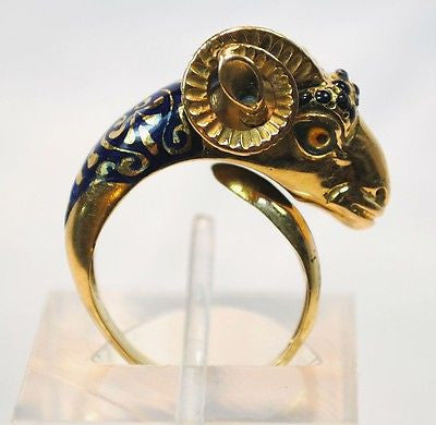 1950s Vintage Enamel Ram Head Wrap Around Ring in 18K Yellow Gold - $8K VALUE