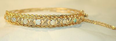 Vintage-Style Opal Bangle Bracelet in 14K Yellow Gold - $8K VALUE