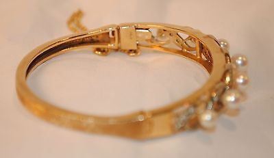 1950s Vintage Diamond and Pearl Hinged Bangle Bracelet in 14K Yellow Gold - $15K VALUE
