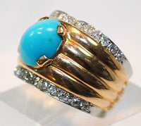 1970s Vintage Bvlgari 4 Carat Turquoise & Diamond Ring in 18K Gold - $15K VALUE