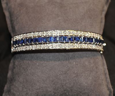 Contemporary 9 Carat Sapphire and Diamond Hinged Bangle Bracelet in 18K White Gold - $40K VALUE
