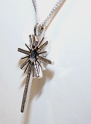 Contemporary BITA Sapphire & Diamond Cross Pendant in 14K White Gold with Triple Chain - $12K VALUE