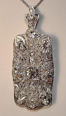 1910s Vintage 3 Carat Diamond Art-Deco Brooch/Pendant in Platinum - $40K VALUE