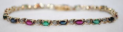 Contemporary Sapphire, Emerald, Ruby, & Diamond Bracelet in Solid 14K Yellow Gold - $8K VALUE