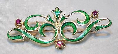 1900s Art Nouveau Era Green Enamel Ruby Brooch in 14K Yellow Gold - $8K VALUE