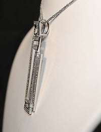 Contemporary Geometric 18K White Gold Pendant with Diamonds - Appraisal $20K VALUE}