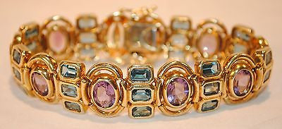 Contemporary 15+ Carat Amethyst and Blue Topaz Bracelet in 14K Yellow Gold - $20K VALUE