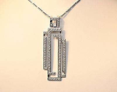 Contemporary Geometric 18K White Gold Pendant with Diamonds - $15K VALUE