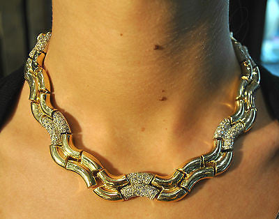 Gorgeous Contemporary Diamond Covered Designer Wavy Link Necklace in Solid 14K Yellow Gold - $30K VALUE