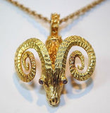 1970s Designer Ram's Head Pendant with Rubies in 18K Yellow Gold - $8K VALUE