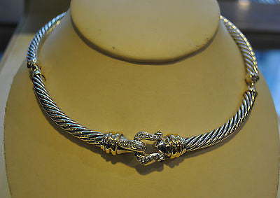 Contemporary David Yurman Ruby & Diamond Choker Necklace in 18K Yellow Gold & Sterling Silver - $10K VALUE