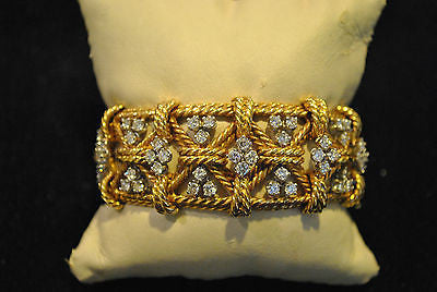David Webb Style Woven Design Bracelet in 18K Yellow Gold and Platinum with Diamonds - $75K VALUE