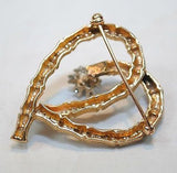 1960s Diamond Cluster Bamboo Heart Brooch in 14K Yellow Gold - $8K VALUE