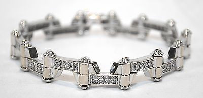 Contemporary Men's Diamond Bracelet Approximately 1.5 Carats in Solid 14K White Gold - $20K VALUE