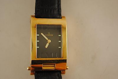 Corum Flip Case Wristwatch in 18K Yellow Gold with Black Dial - $20K VALUE