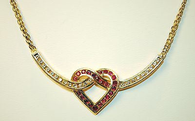 Contemporary Diamond & Ruby Heart Necklace in Solid 14K Yellow Gold - $15K VALUE