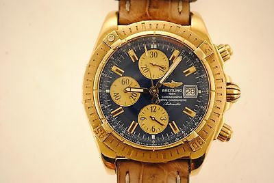 Breitling Chronomat Chronograph Automatic Wristwatch in 18K Yellow Gold with Blue Dial & 3 Subdials - $30K VALUE