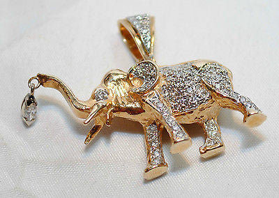Contemporary 1 Carat Diamond Encrusted Elephant Pendant in Solid 14K Yellow Gold - $8K VALUE