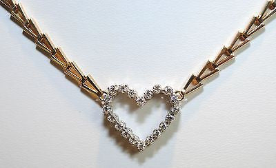 1970s Diamond Heart Necklace with Abstract 14K Yellow Gold Chain - $6K VALUE