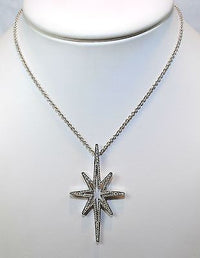 "Ron Hami Starburst Diamond Pendant in 18K White Gold with 18"" Chain - $12K VALUE"