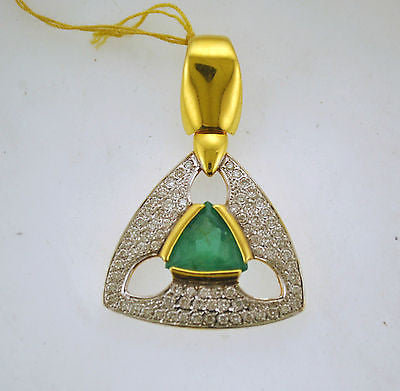 Contemporary 4 Carat Emerald & Diamond Pendant with 74 Diamonds in 18K Yellow Gold - $18K VALUE