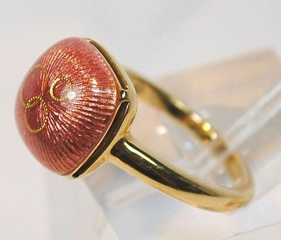 Faberge Pink Enamel Ring in 18K Yellow Gold - $8K VALUE